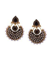 Hyderabad Jewel Lavishing Black Colour Pearls Hanging Earrings