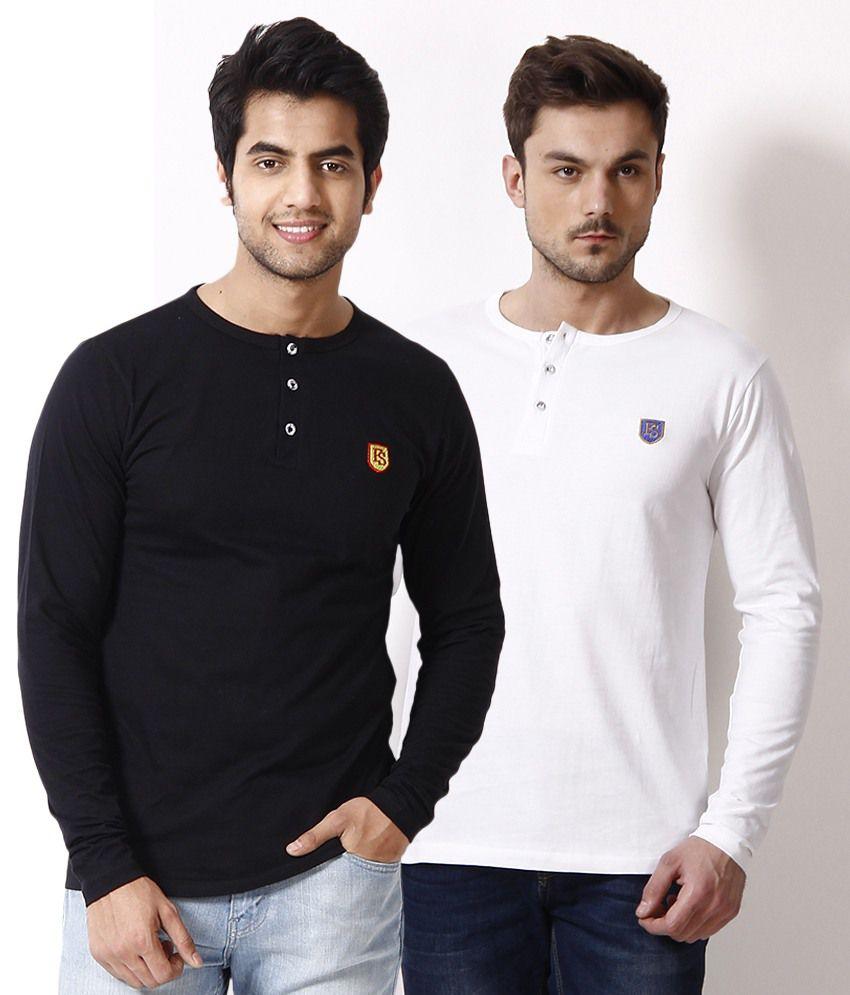 Free Spirit Pack of 2 Black-White Henley T Shirts