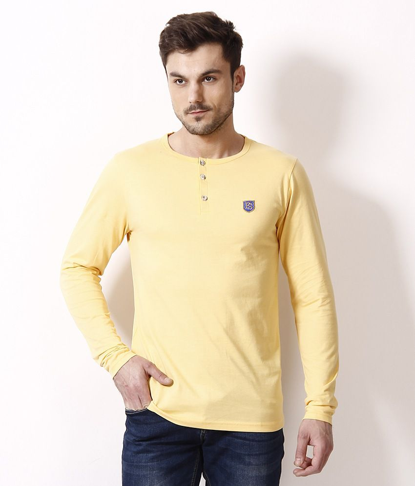 Free Spirit Yellow Henley T Shirt