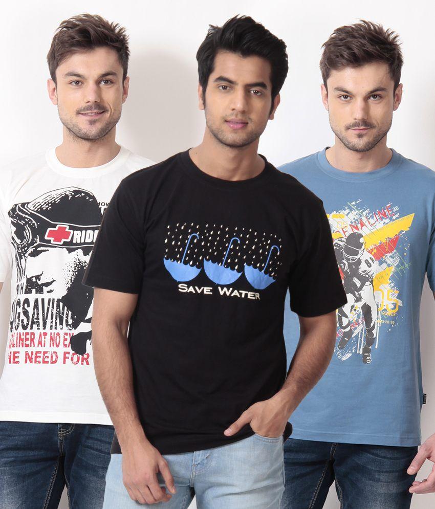 TSG Escape Black-White-Blue Pack of 3 Cotton T Shirts