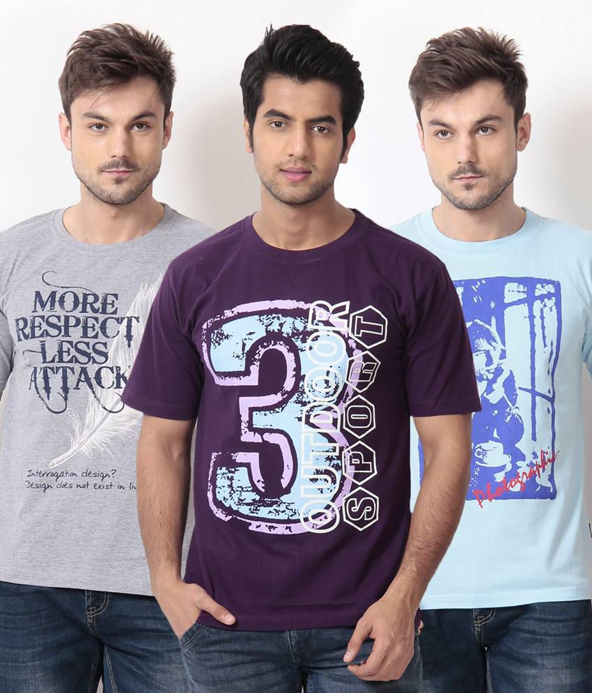 TSG Escape Blue-Gray-Purple Pack of 3 Cotton T Shirts