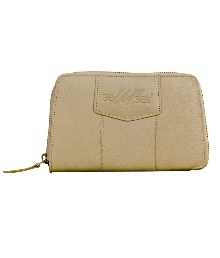 eZeeBags LightGray Leather Ziparound Wallet