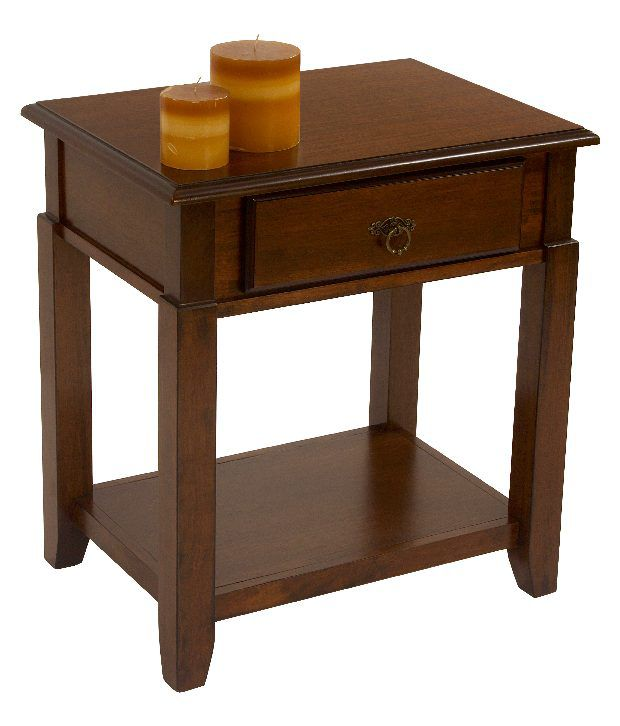 Durian Wooden Side Table With 1 Drawre & 1 Shelf And Wooden Legs