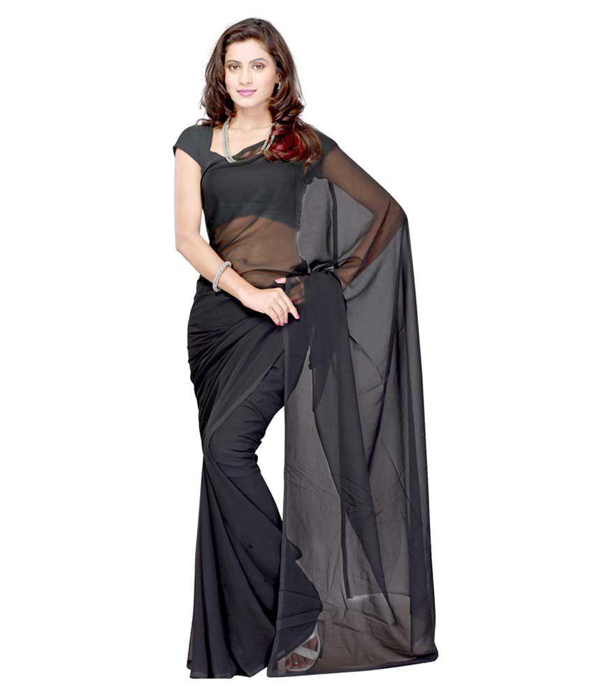 Sonika Black Chiffon Saree