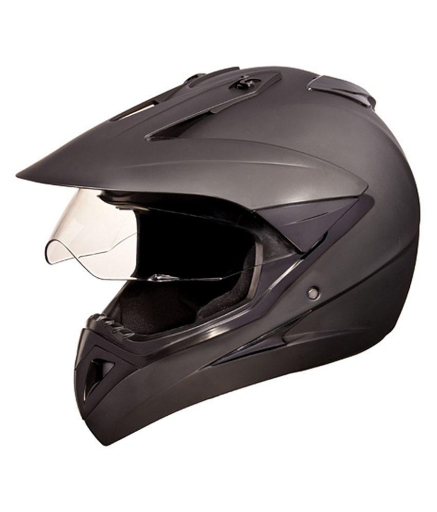 Studds Full Face Helmet Motocross Plain Matte Black