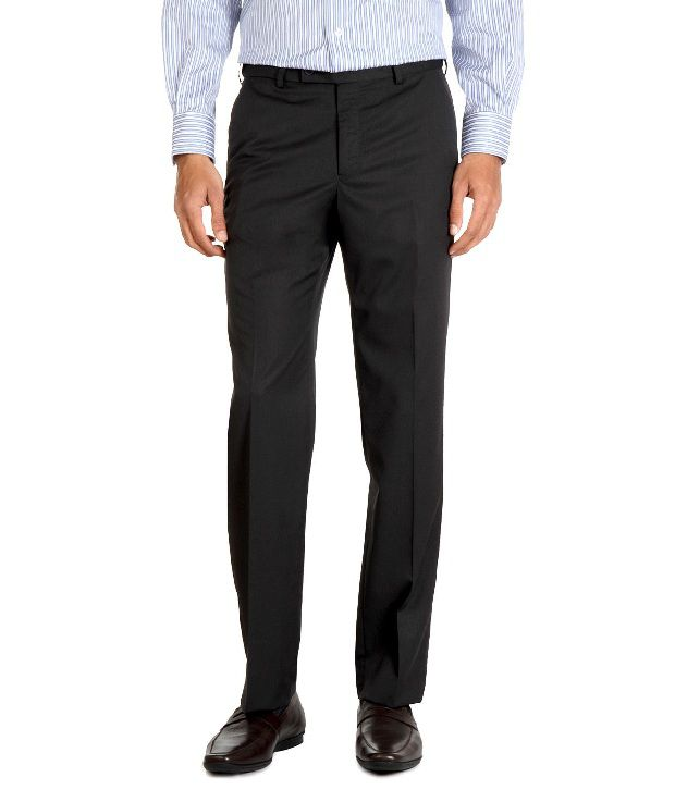 Van Heusen Dark Gray Polyester-Viscose Blended Trousers