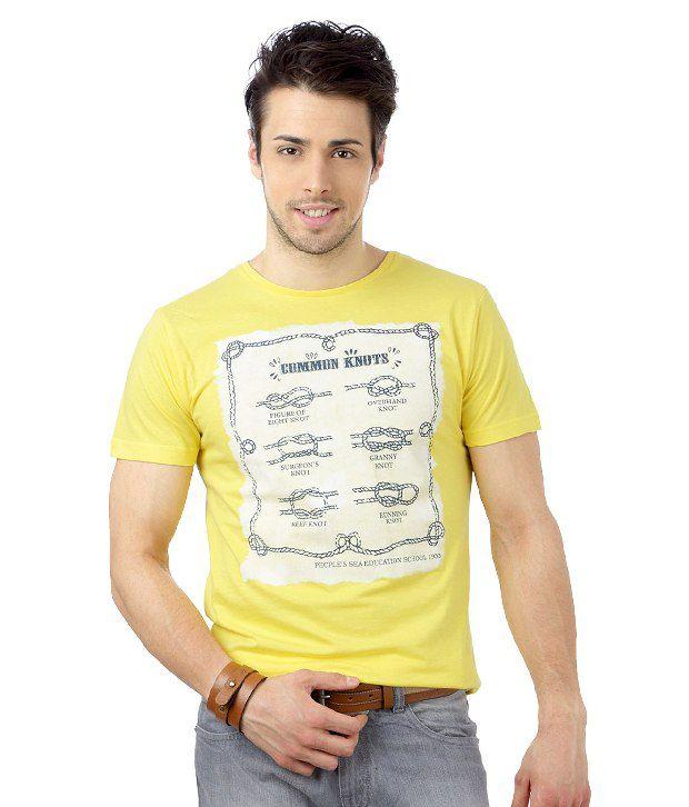 People Yellow Crew Neck Printed T-Shirt