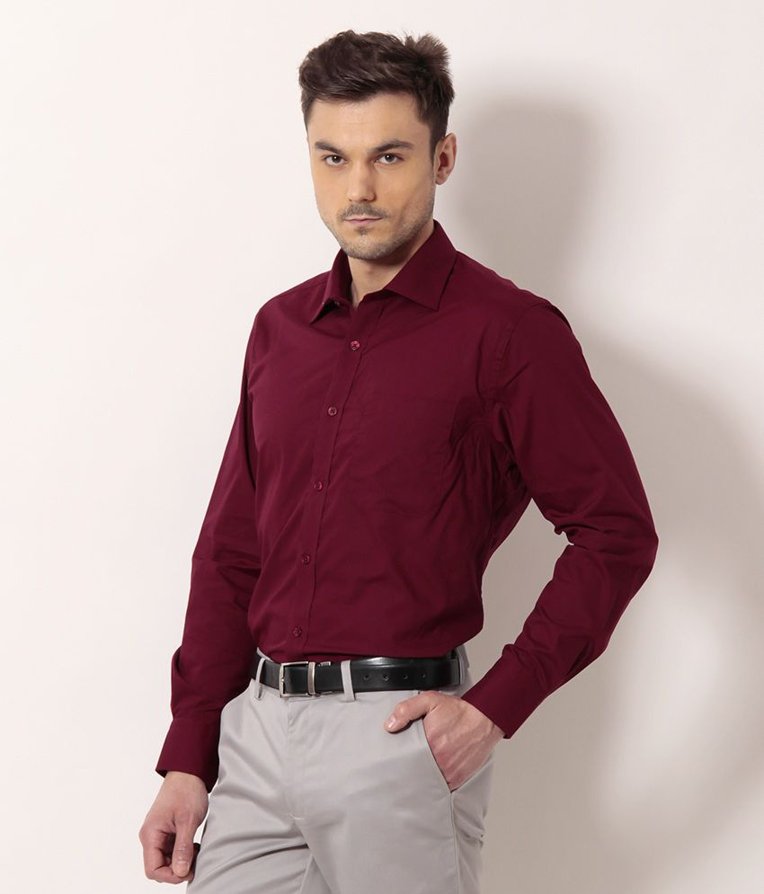 104b9c06ca3 Peter England Cherry Red Basic Formal Shirt - Buy Peter England ...