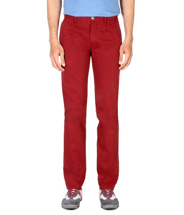 Peter England Red Casual Textured Trousers