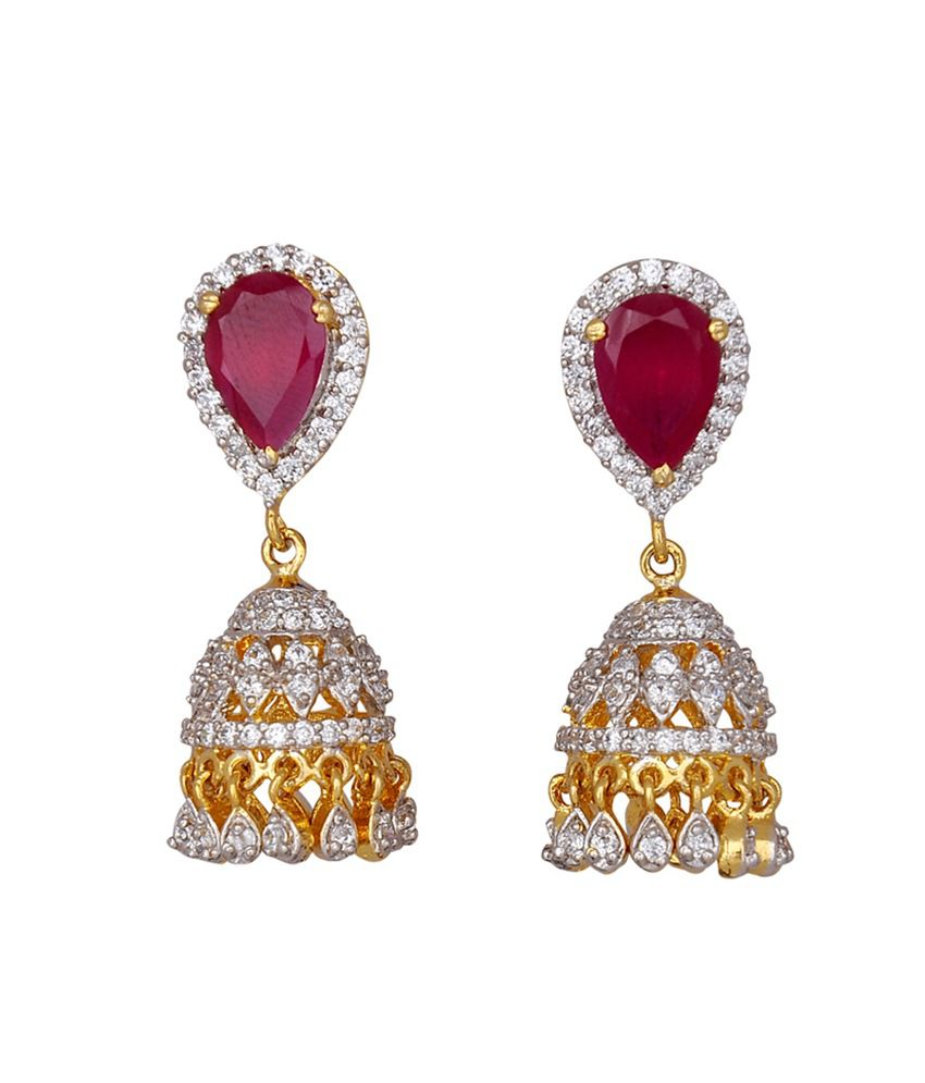 Kushal's Ruby Rhodium Gold plated Zircon Jhumki Earrings