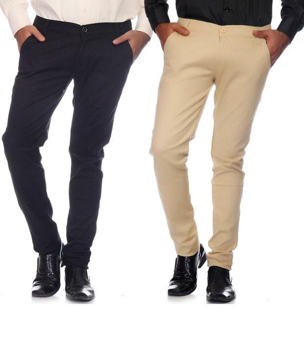 Pazel Cream & Black Cotton Lycra Combo of 2 Men's Chinos