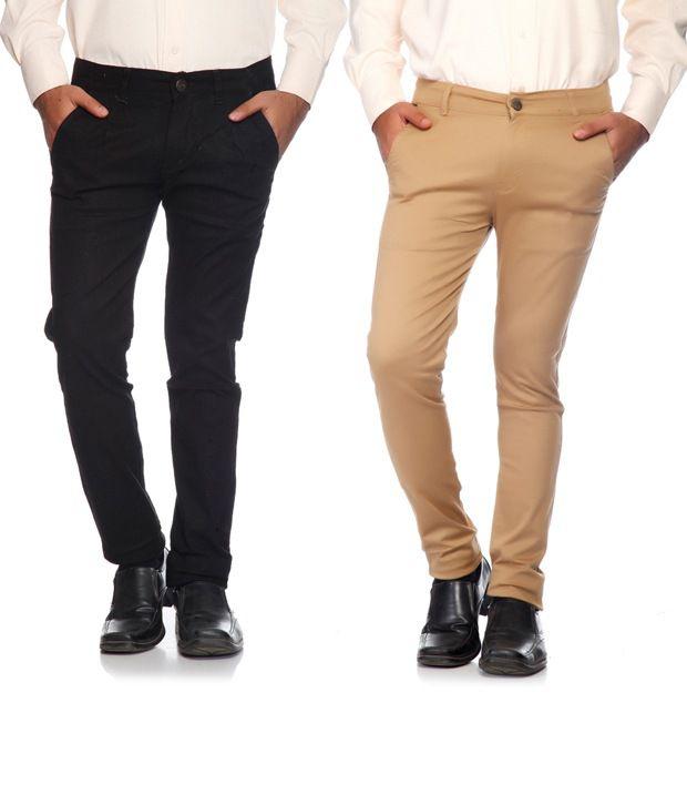 SAM & JAZZ Black & Beige Cotton   Lycra Combo of 2 Men's  Chinos