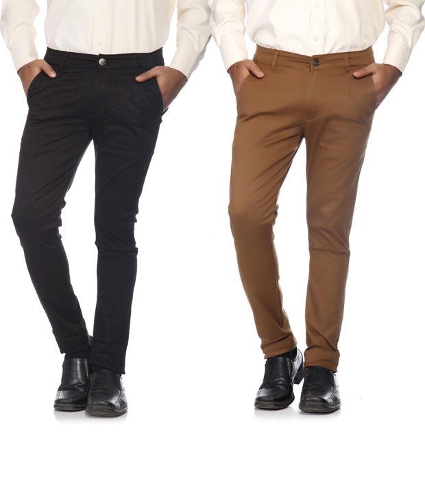 SAM & JAZZ Black & Brown Cotton   Lycra Combo of 2 Men's  Chinos