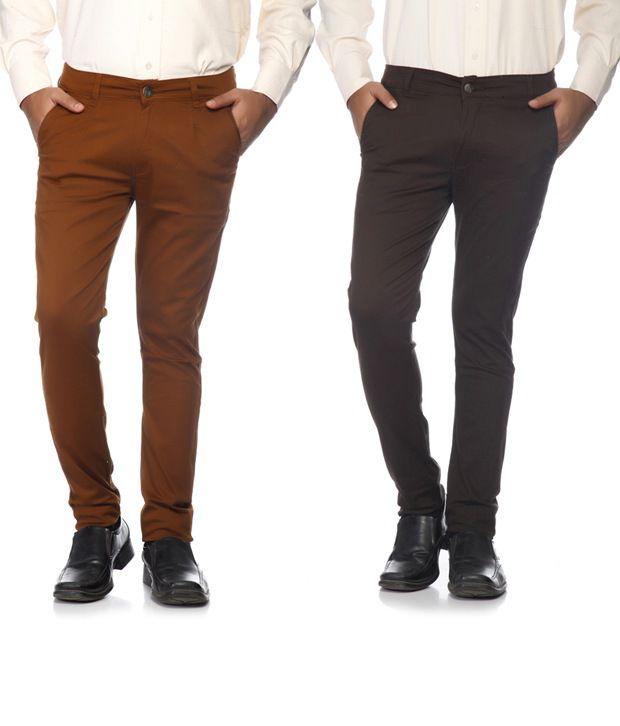 SAM & JAZZ Brown & Dark Brown   Cotton Lycra Combo of 2 Men's   Chinos