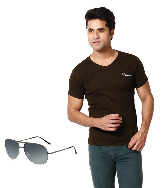 Zion Chocolate Brown T ShirtWith Free Sun Glass