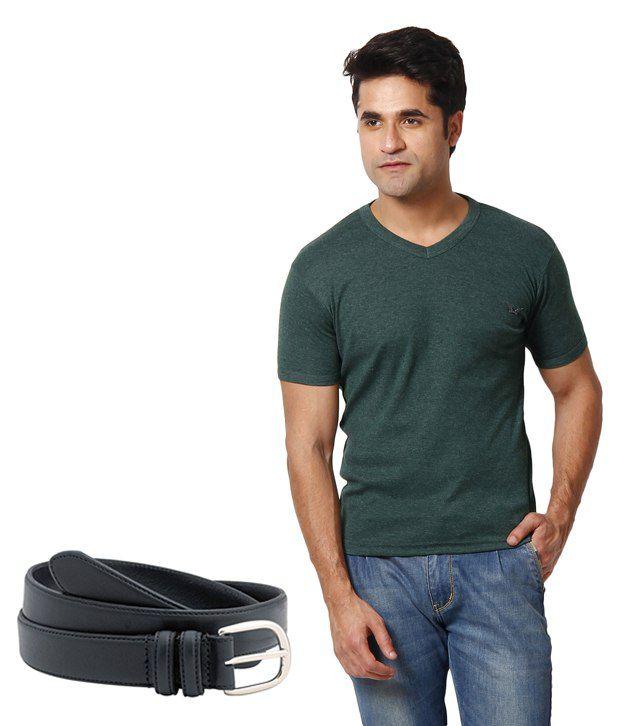 Zion Smart Dark Green T ShirtWith Free Belt