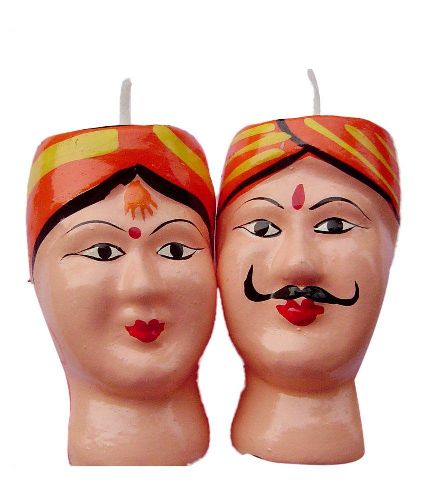 Rastogi Handicrafts Hand Painted Terracotta Men Women Pair Candle - Orange