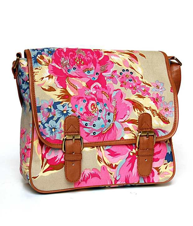 Shaun Design Pink & Beige Cross Body Sling Bag