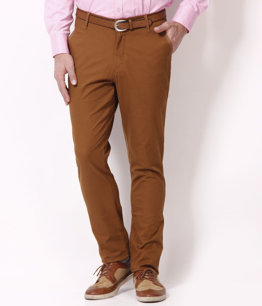Urban Navy Cool Brown Stretchable Chinos