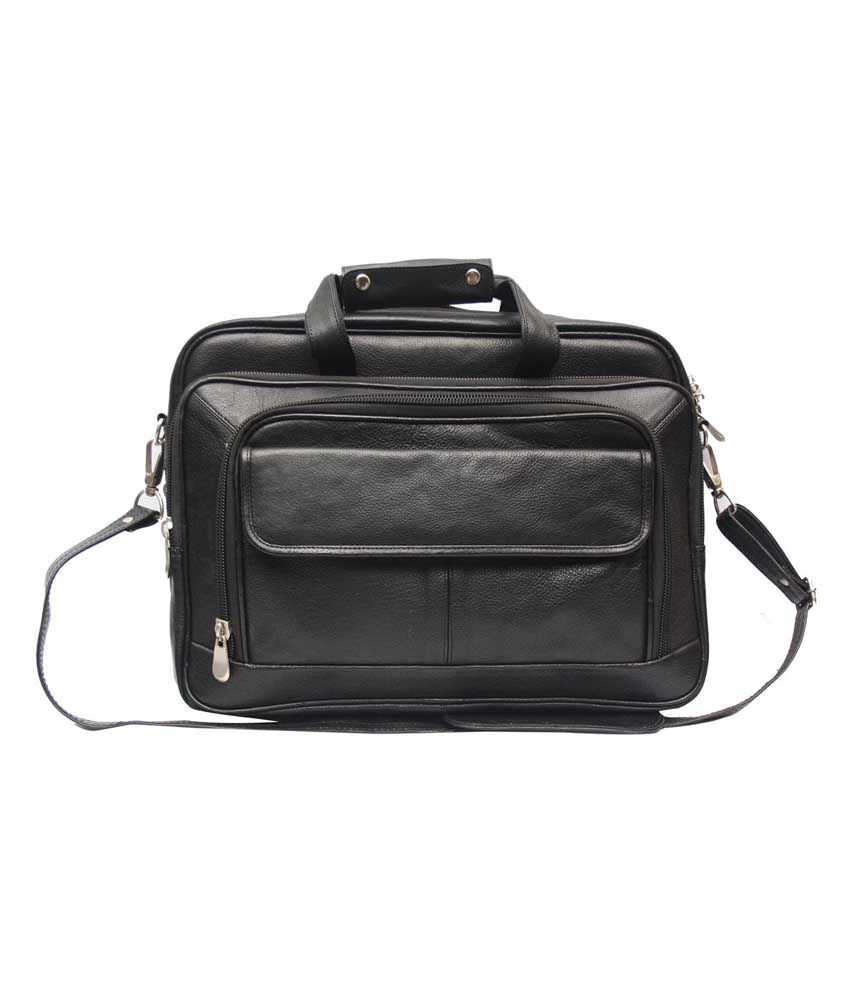 C Comfort Trendy Black Genuine Leather 15 inch Laptop Messenger Bags