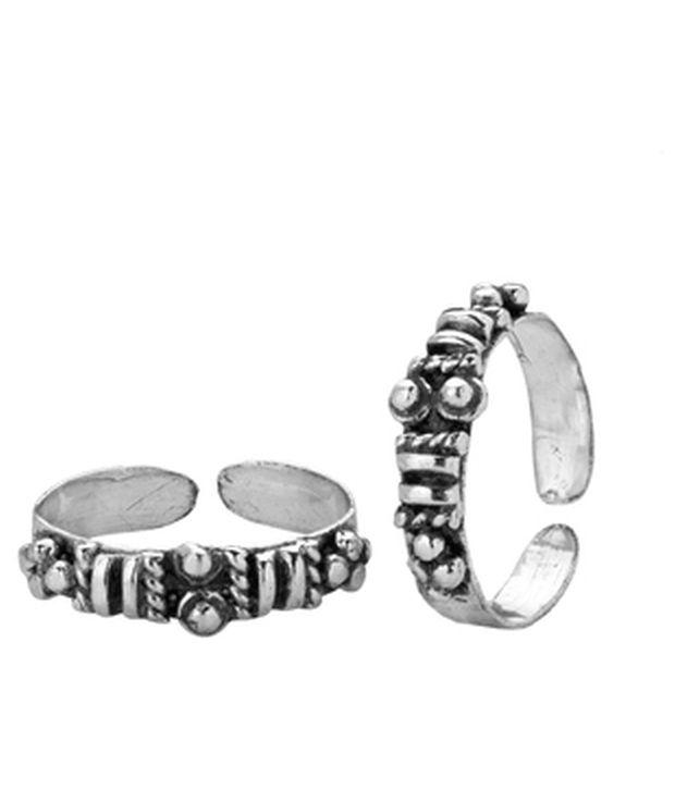 Voylla Lines & Dots Oxidised Silver Alloy Toe Rings