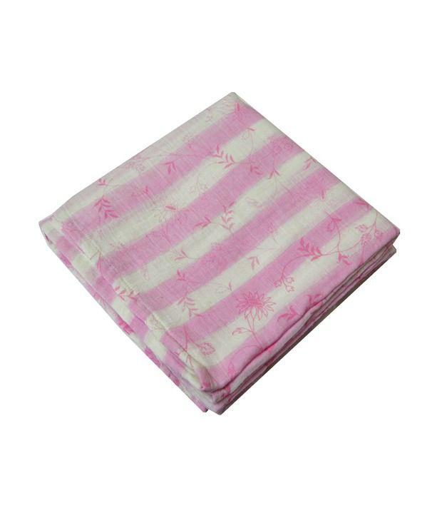 Ireeya Handwoven Striped Cotton Muslin Receiving Blanket- Pink