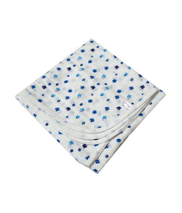 Ireeya Organic Cotton Muslin Receiving Blanket- Blue