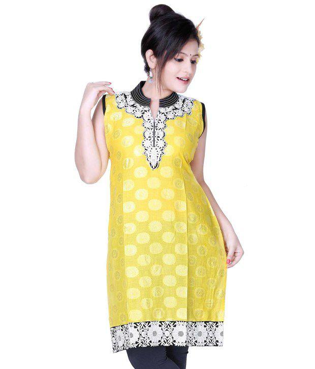 Ishin Yellow Cotton Women - Kurti