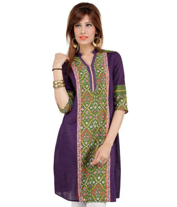 W Purple Cotton Women - Kurti