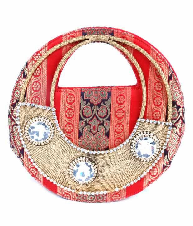 ABQA Silk Brocade Round Clutch