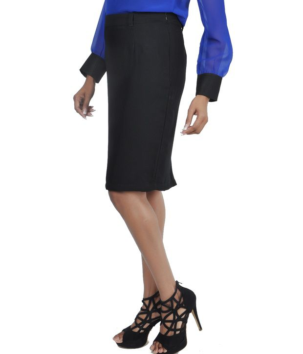 Buy Martini Black Knee Length Formal Skirt Online at Best Prices ...