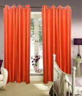 JBG Home Store Set Of 2 Decent Rust Plain Curtains (9 Ft) - Rust