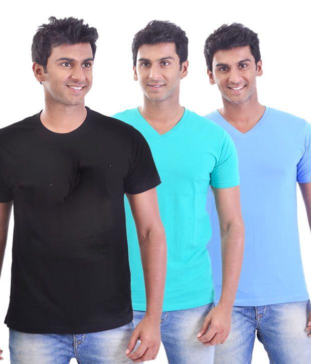 Stitche Smart V Neck Multicolour Stretch T-Shirts Pack Of 3