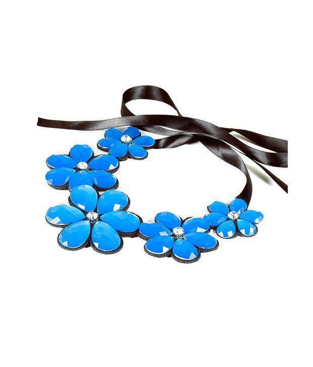 Eleganti Blue Flower Ribbon Necklace