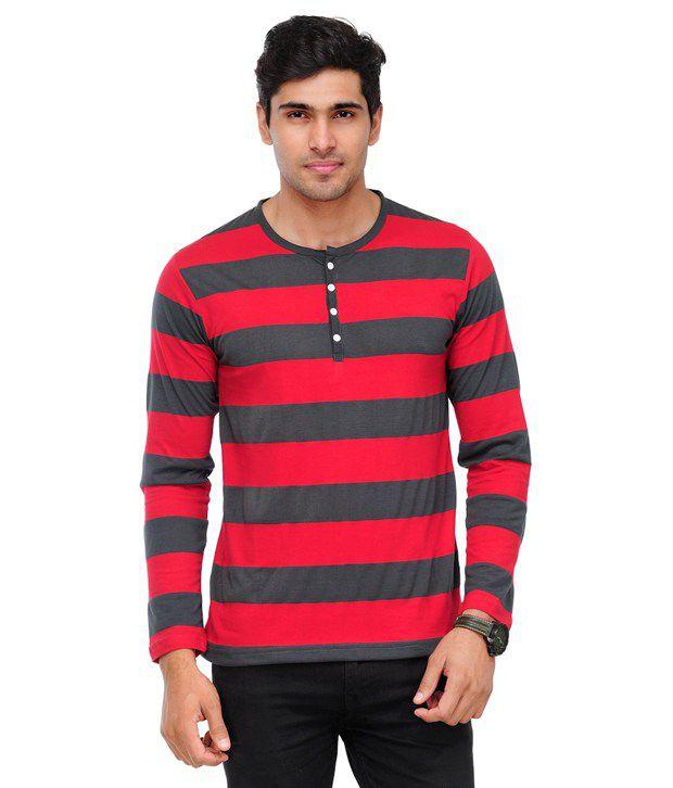 TSX Red Striped Henley Cotton Blend T Shirt