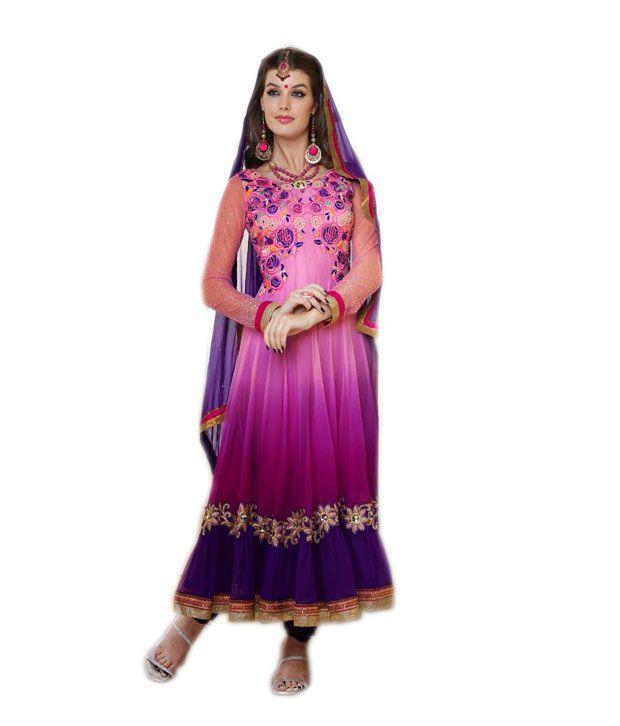 Vipul Multi Color Net Unstitched Dress Material