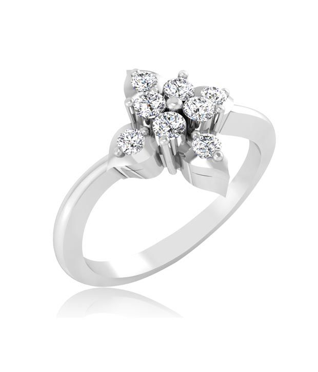 Forever Carat Floral Real Diamond 92.5 Silver Sterling Ring