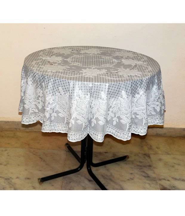 Katwa Clasic 54 Inches Round Lace Vinyl Tablecloth Rose