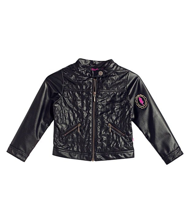 Barbie Biker Leather Look, Quilted Details, Black Color Jacket For Kids