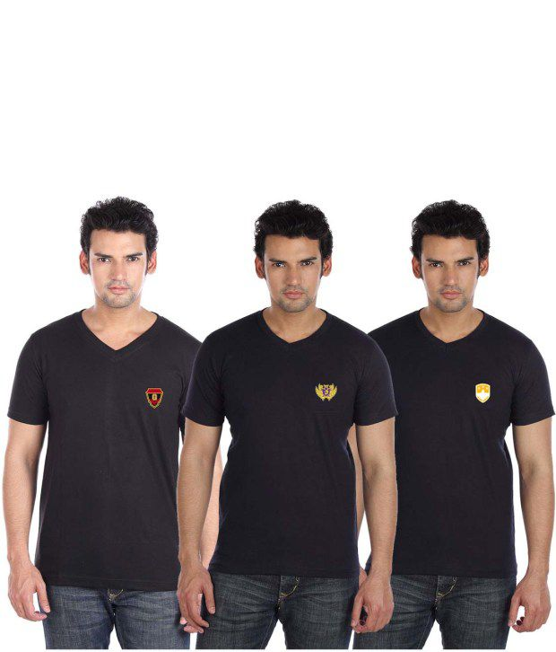 Go Untucked Stylish Pack Of Black-Navy V-Neck T Shirts