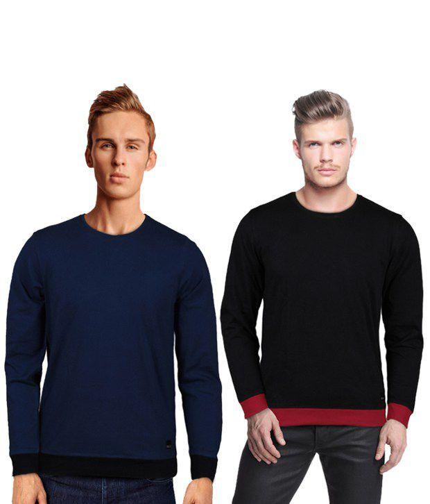 Rigo Cool Pack Of 2 Blue-Black T Shirts
