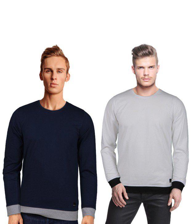 Rigo Cool Pack Of 2 Navy-Grey T Shirts