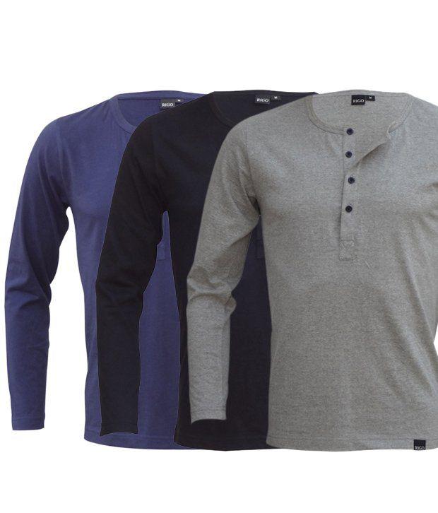 Rigo Cool Pack Of 3 Blue-Black-Grey T Shirts
