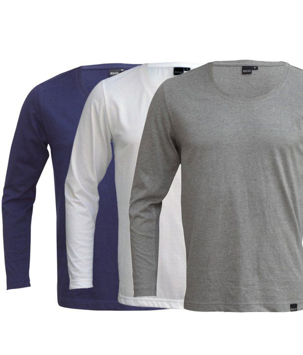 Rigo Exclusive Pack Of 3 Blue-White-Grey T Shirts