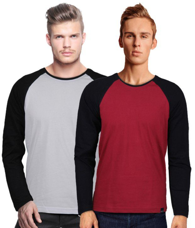 Rigo Pack Of 2 Kangaroo Pocket Grey-Red T Shirts