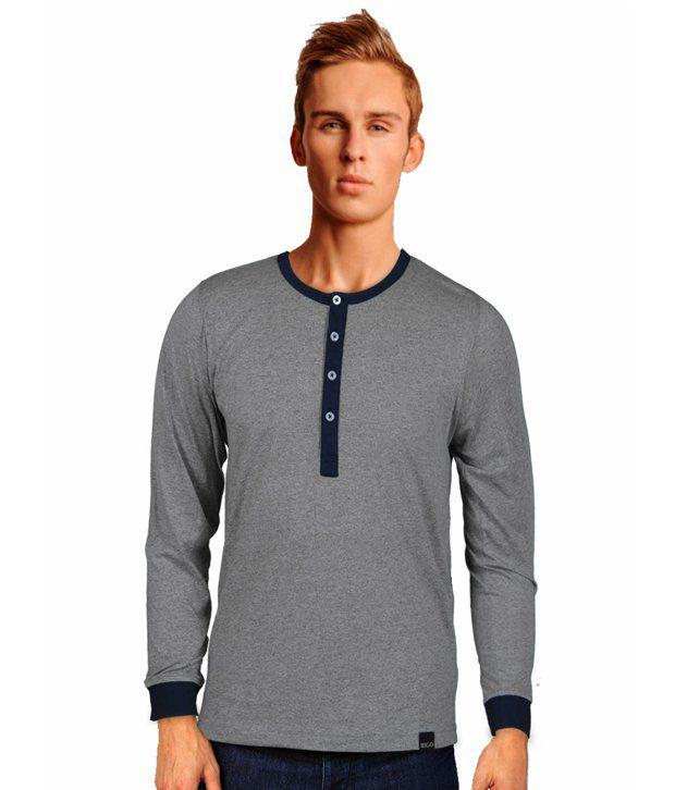 Rigo Smart Grey Henley Neck T Shirt