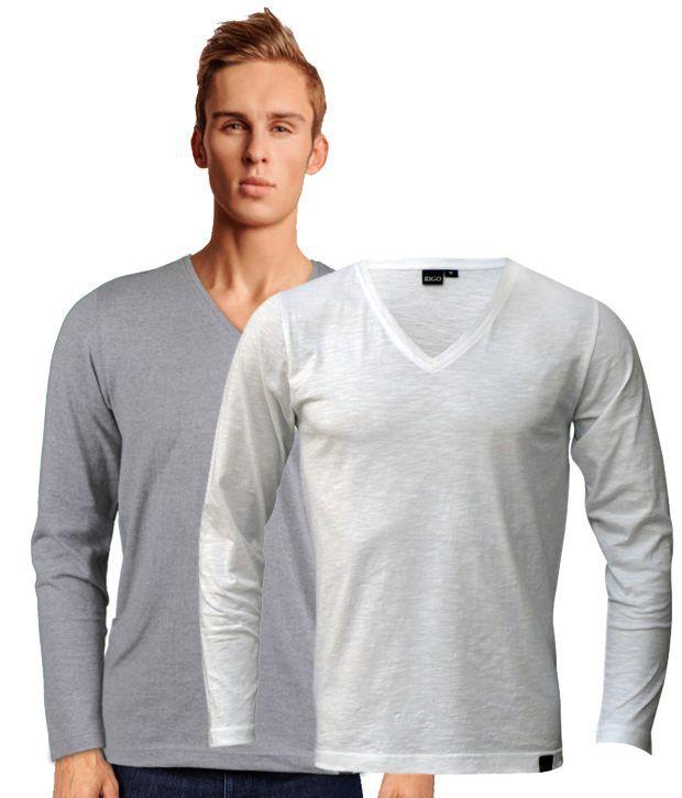 Rigo Smart Pack Of 2 Grey-White V Neck T Shirts