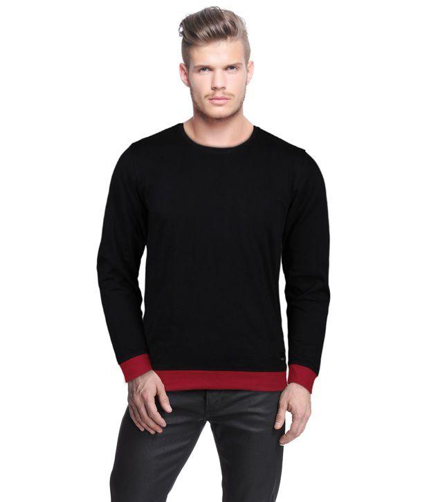 Rigo Stylish Black T-Shirt With Red Cuffs