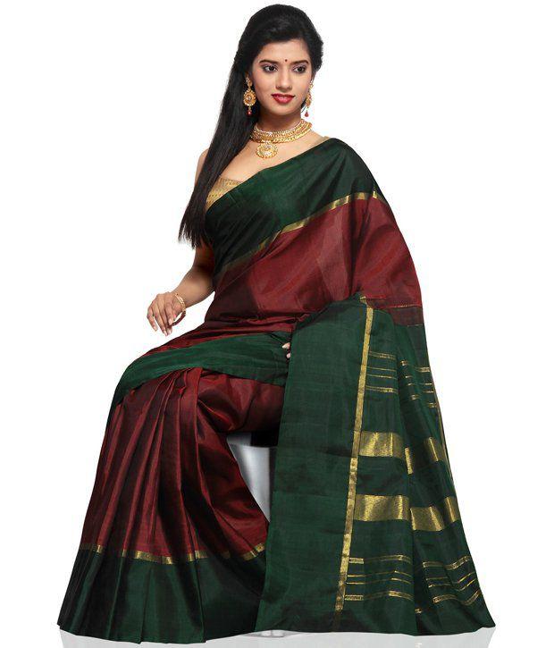 7a5895564cc3d9 Utsav Fashion Dark Maroon Pure Kanchipuram Handloom Silk Saree with Blouse  - Buy Utsav Fashion Dark Maroon Pure Kanchipuram Handloom Silk Saree with  Blouse ...