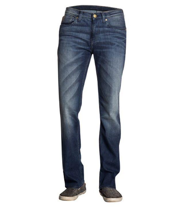 Lee Dark Blue Faded Cotton Lycra Jeans